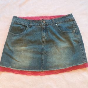 New Deb jean skirt with pink lace